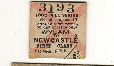Railway ticket NER 1st class 1000 mile series Newcastle - Wylam 1909