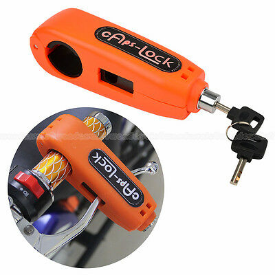 Orange Caps-Lock Handlebar Grip Brake lever Lock for Motorcycle Scooter UK Stock
