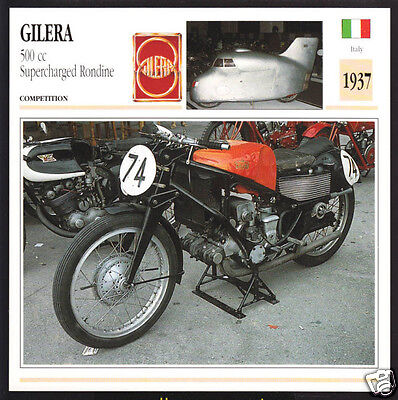 1937 Gilera 500cc Supercharged Rondine Motorcycle Photo Spec Sheet Info Card