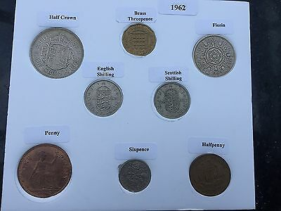 1962 Full Set of 8 Coins in Display Card - Ideal Birthday Present