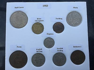 1953 Full Set of 9 Coins in Display Card - Ideal Birthday Present inc Rare Penny