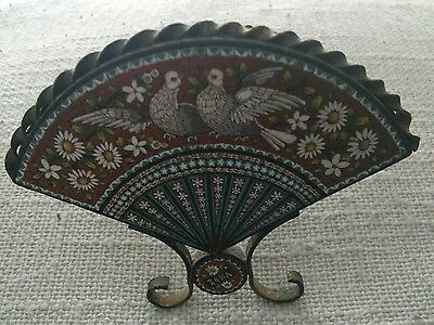 Vintage Souvenir Small Mosaic Fan From Rome / Roma