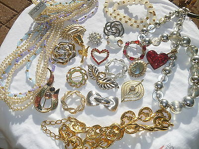 Jewelry Pins Necklaces Costume Jewelry Monet Beads Links Abstract Hearts Lot