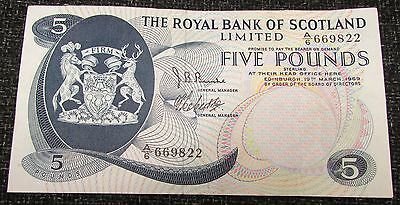 1969 + The Royal Bank of Scotland £5.00 Banknote