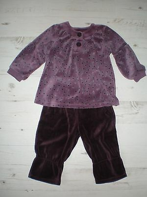 VERTBAUDET Velour Top & Trousers Outfit Purple Stars Design Age 3