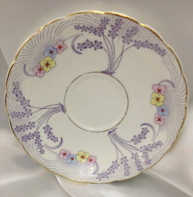 Vintage Colclough Replacement Saucer Purple With Yellow Pink & Blue Flowers
