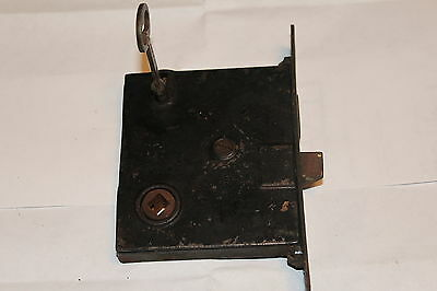 "Vtg MORTISE LOCK with Working Key  5 1/4"" x 7/8"" FP/3 9/16"" x  3 1/16"" MB"
