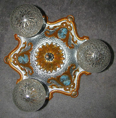 Vtg Art Deco Victorian Cast Iron Flush Mount Cameo Chandelier Ceiling Fixture