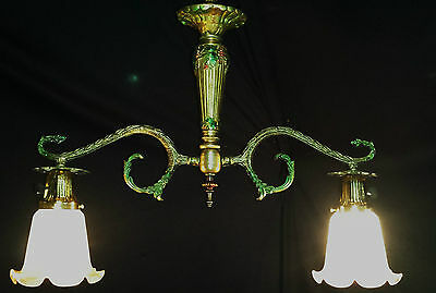VINTAGE FRANCE BILLIARD STYLE CEILING CHANDELIER FIXTURE VIANNE GLASS SHADE 50's