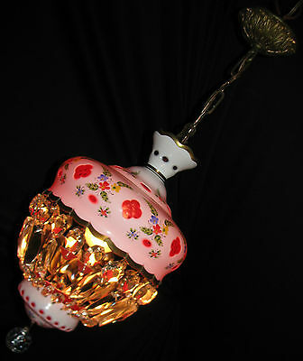 Vtg Bohemia Czech Cut To Cranbery Crystal Glass Shade Ceiling Chandelier Fixture
