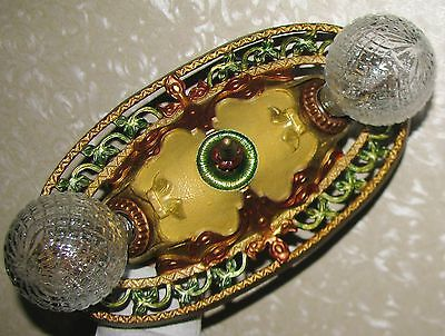 Vtg Art Deco Victorian Cast Iron Flush Mount Chandelier Ceiling Fixture