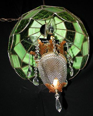 Vtg Deco Tole Italian Swag Tiffany Style Glass Shade Ceiling Fixture Chandelier