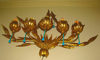 Vintage Italian Italy Tole Wrought Iron Victorian Sconce Chandelier Wall Fixture