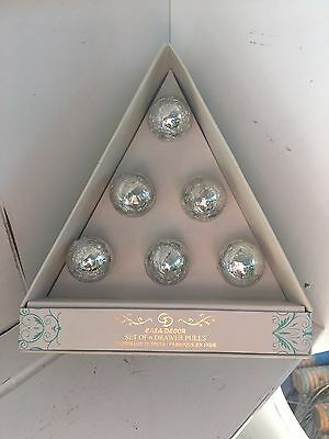 Casa Decor Silver Crackled Mercury Glass Drawer Knobs Pull Set Of 6 New Chic