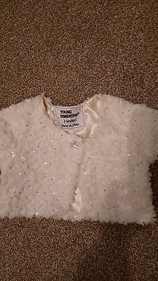 Gorgeous Girls White Faux Fir Gilet With Sequins & Faceted Button -  2-3 Years