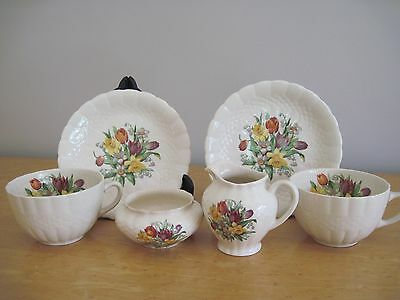 TEA FOR 2 CHINA SET Simpsons (potters) ltd Solian Ware Providence Spring Flowers