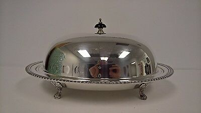 Vintage Silverplate Covered Serving Dish Platter Plated Server Benedict Silver