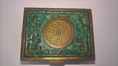 Antique Chinese Brass Felt Llined Box Jade Mosaic Sun Dial Emblem Trinket Box