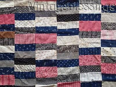 "Fantastic Fabrics of the 1880s ANTIQUE QUILT TOP 66"" x 65""Small Scale Beauty"