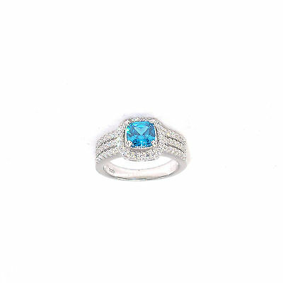 .925 Sterling Silver Rhodium Plated Micro Pave CZ Ring Cushion Cut Blue Topaz CZ