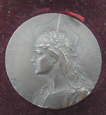 Antique French Bronze Medal Marianne Gallia By Dubois Original Leather Box