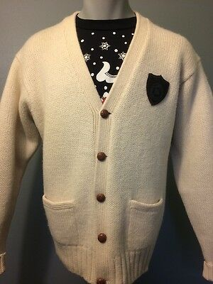 Vtg Ralph Lauren Polo Sweater Cardigan Mens Letter Crest School Wool Knit Lg 90s