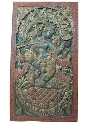 Indian Inspired Hand Carved Dancing Krishna Wall Hanging Zen Pocket Door Panel