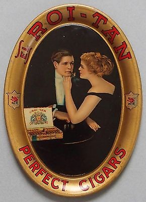 Mint Roi-Tan Cigar Tin Litho Advertising Tip Tray Victorian Couple Great Color