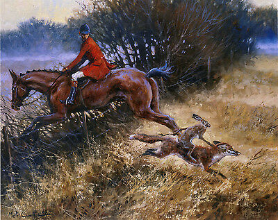 FOX HUNTING HORSE HARE COMIC FINE ART PRINT by the late Mick Cawston Double Take