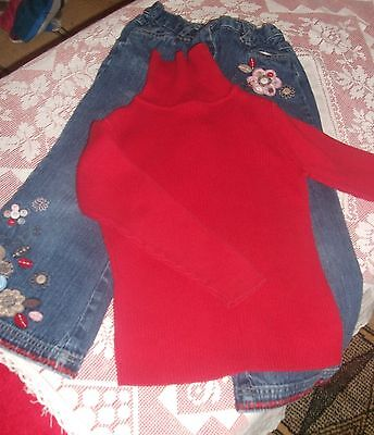 Girls Mothercare Embroidered Heans & Red Jumper Outfit Age 3-4 Years