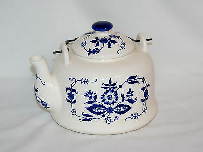 Vintage Armbee Blue And White China Teapot With Metal Spring Bale (1848)