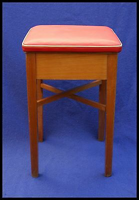 Vintage Wooden Stool Red Vinyl White Piping with Storage Box | 1950's 60's