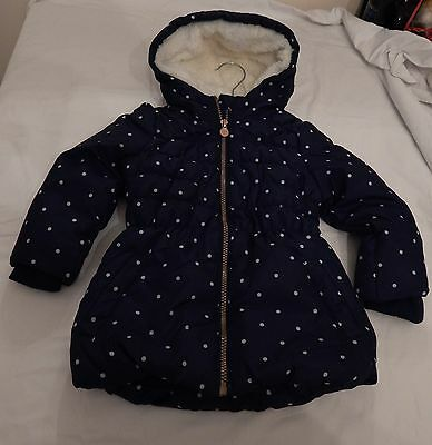 New Girls Navy Polka Dot Jacket Age 2/3-3/4-4/5-5/6&6/7 Free P&p