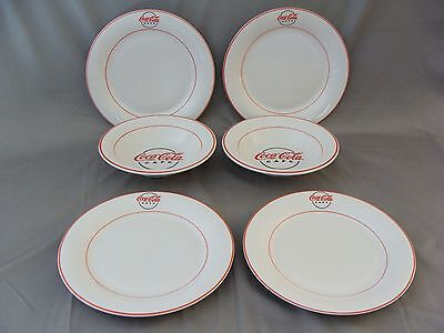 Gibson Coca-Cola Cafe - Dated 2000 = 4 Dinner Plates & 2 Salad/Soup Bowls