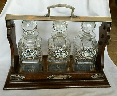 Antique TANTALUS English Oak and Silver Plate Crystal Decanter Set With Labels
