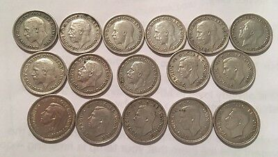 Great Britain 3 Pence Lot of 16 Silver Coins, VG to XF, 1930-1941