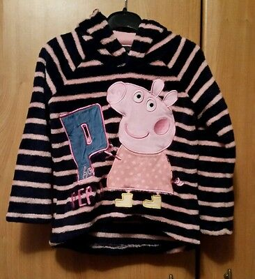 Peppa Pig Navy and pink striped warm cosy long sleeved hooded top age 3-4