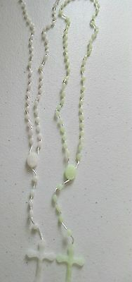 rosary bead necklace 2packs white and green glow in the dark brandnew