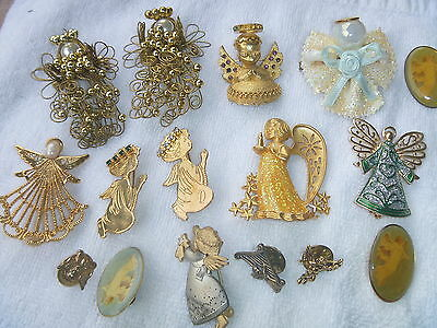 Vintage ANGEL PINS Gold Crown Inc.  AVON DODDS 15 brooches lapel pins CHRISTMAS