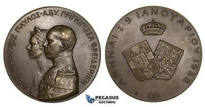 ZM288, Greece & Germany, George II, Bronze Medal 1938 by Phalireas, Marriage to