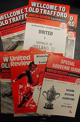 Manchester United 1974/75 United Review 29 Home Programmes Full Set In Binder