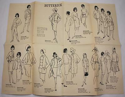 Vintage Butterick Sewing With Knits Instruction Sheet 1960's Fashions