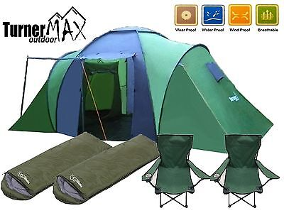 Trijan Outdoor 4/6 Person Camping Hiking Tent with Two Sleeping Bags & Chairs