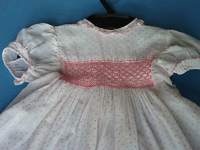 GORGEOUS 1950's VINTAGE BABY GIRL CHILD's DRESS SMOCKING WHITE PINK SPOTS