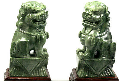 Pair Of Chinese Jadeite Jade Carved Carving Temple Lion Or Foo Dogs 190 Ounce