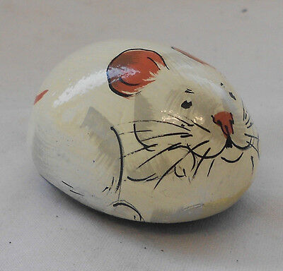 RARE Hand Painted PEBBLE MOUSE Stone By BARBARA NAUGHTON 5cm ORNAMENT