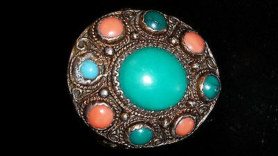 ANTIQUE Chinese FILIGREE SILVER Coral/Turquoise RING Adjustable