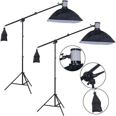 2 X 160W Photography Photo Lighting Studio Flash Light Strobe Lamp Softbox Stand