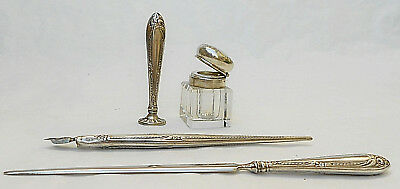 Antique 19Th Century German Alpacca Plated Writing Accessories/writing Set