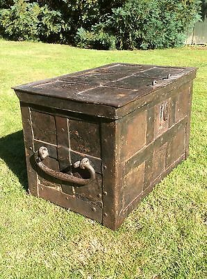 Very Rare 16th 17th Century Solid Wrought Iron Strong Box Armada Chest 15th Box.